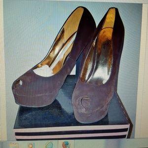 Brown round toe sexy silhouette platform high heel